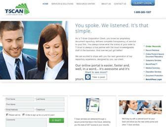 Main page screenshot of tscan.biz