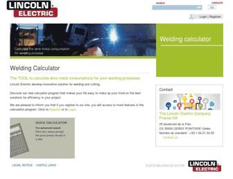 welding-calculator.lincolnelectric.com screenshot