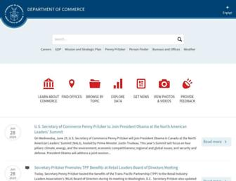 Main page screenshot of commerce.gov