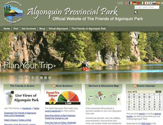 Main page screenshot of algonquinpark.on.ca