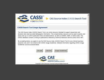 Main page screenshot of cassi.cas.org