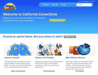 Main page screenshot of cacareerzone.org
