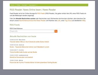 Main page screenshot of feed-reader.net