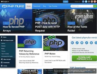Main page screenshot of phpnuke.org
