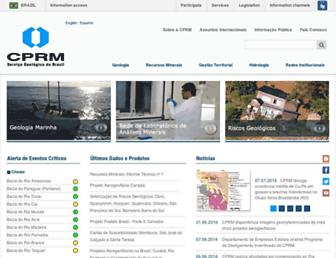 Main page screenshot of cprm.gov.br