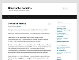 Main page screenshot of generischedomains.de