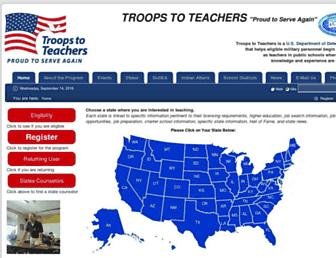 Main page screenshot of troopstoteachers.net