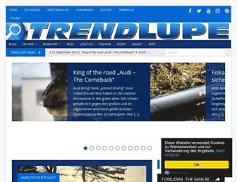 Main page screenshot of trendlupe.de