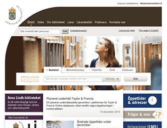 Main page screenshot of annalindhbiblioteket.se