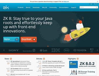 Main page screenshot of zkoss.org
