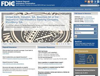 Main page screenshot of www2.fdic.gov
