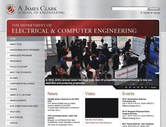 Main page screenshot of ece.umd.edu