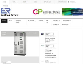Main page screenshot of electricalreview.co.uk