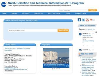 Main page screenshot of sti.nasa.gov