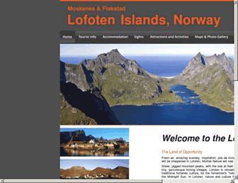 Main page screenshot of lofoten-info.no
