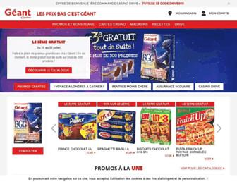 Main page screenshot of geant.fr