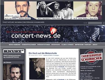 Main page screenshot of concert-news.de