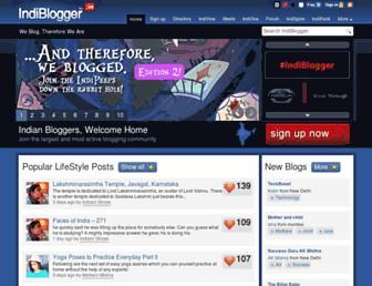 Main page screenshot of indiblogger.in