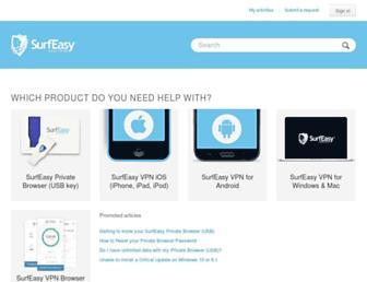 support.surfeasy.com screenshot