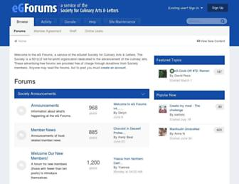 Main page screenshot of forums.egullet.org