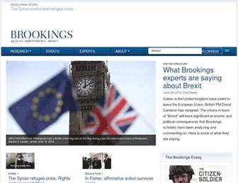 Main page screenshot of brookings.edu