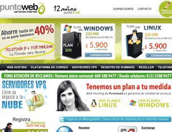 Main page screenshot of puntoweb.cl