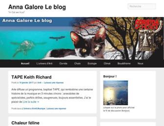 Main page screenshot of annagaloreleblog.blogs-de-voyage.fr