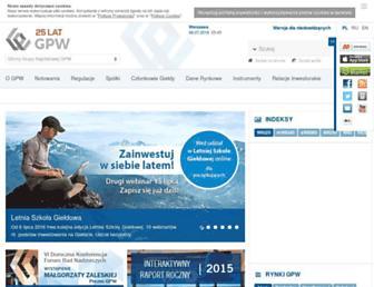 Main page screenshot of gpw.com.pl