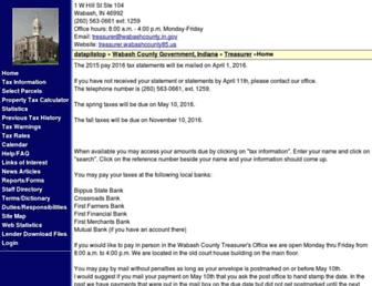 Main page screenshot of treasurer.wabashcounty85.us