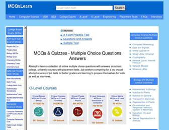 mcqslearn.com screenshot