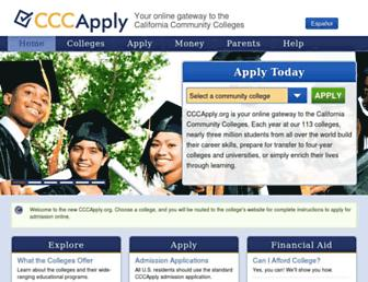 Main page screenshot of cccapply.org