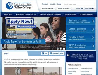 Main page screenshot of valleycollege.edu