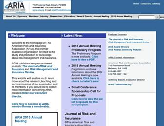 Main page screenshot of aria.org