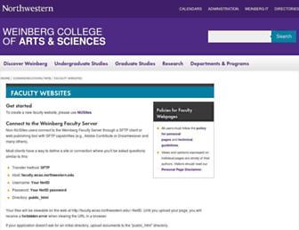 Main page screenshot of faculty.wcas.northwestern.edu