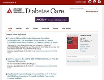Main page screenshot of care.diabetesjournals.org