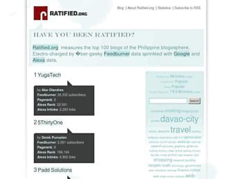Main page screenshot of ratified.org