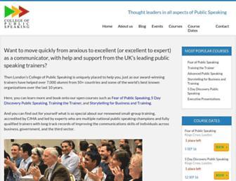 collegeofpublicspeaking.co.uk screenshot