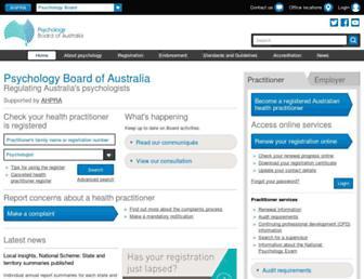 psychologyboard.gov.au screenshot