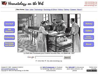 Main page screenshot of neonatology.org