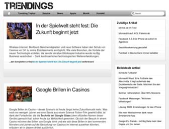 Main page screenshot of trendings.de