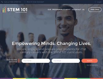 Main page screenshot of stem101.org