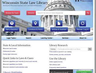 Main page screenshot of wilawlibrary.gov
